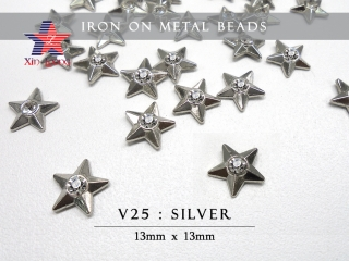 Iron On Metal Beads-Star w/o Rhine