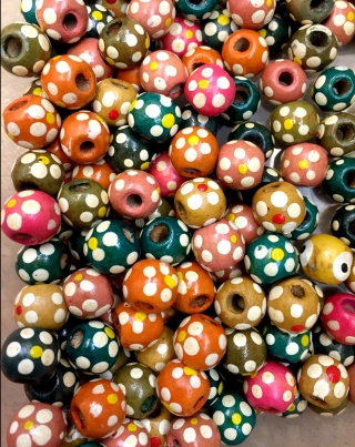 Round Wooden Beads With Painted Flowers