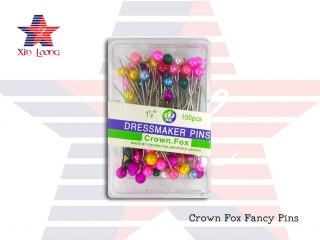 Crown Fox Dressmaker Pins