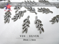 V04 Iron on Metal Beads -Leaf