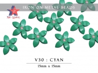 V30 Iron On Metal Beads- flowers