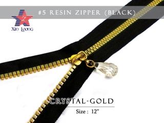 #5 Rezin Zipper : Crystal