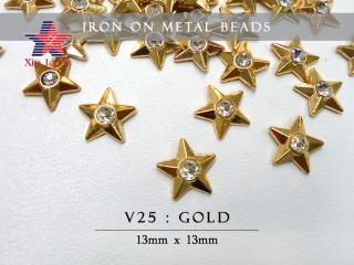 Iron On Metal Beads-Star w/o Rhine