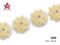 Chiffon lace with 3D flowers